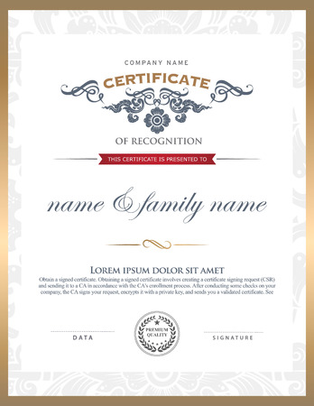 certificate template. Can be rectangular white superimposed on the original text. And can be printed over to the original.