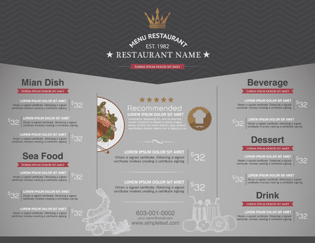 restaurant dining: Menus are designed exquisitely beautiful, stylish and easy to use. Illustration