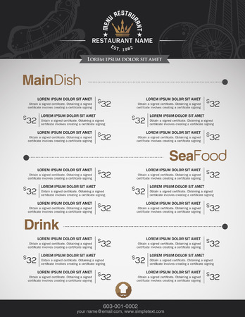 chefs cooking: Menus are designed exquisitely beautiful, stylish and easy to use. Illustration