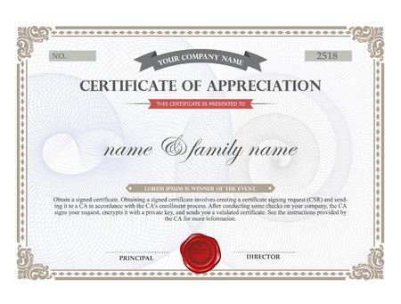 Šablona certifikátu. Ilustrace