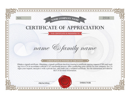 business degree: Certificate template. Illustration