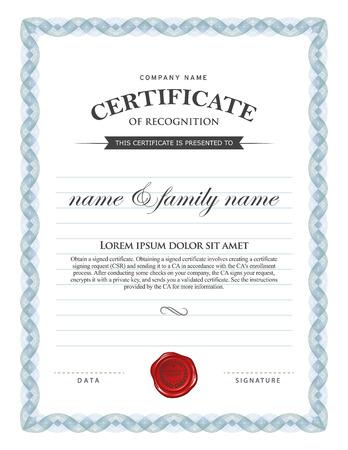licenciatura: Certificado de plantilla.
