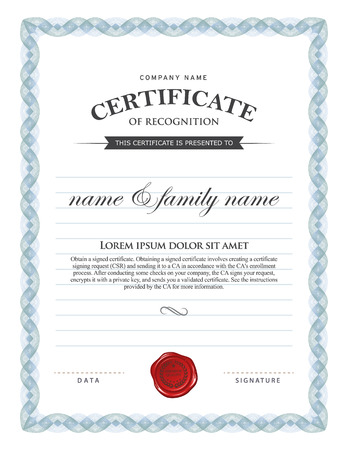 Certificate template. Illustration