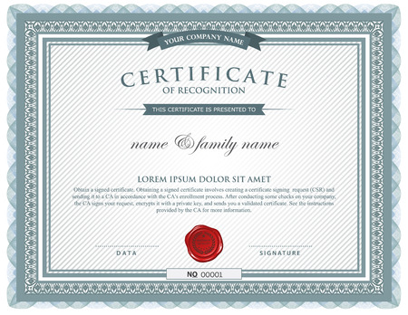 certificado: plantilla de certificado.