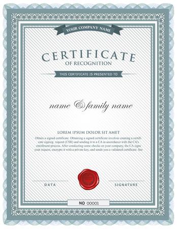 Šablony certifikátu. Ilustrace