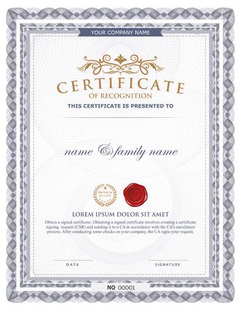 decoratif: modèle de certificat