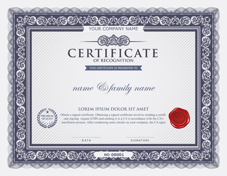 calligraphy frame: certificate template.