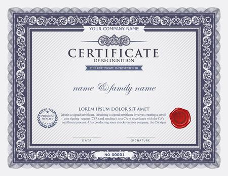Certifikát šablony.