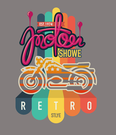 typography design motor cycle classic Vector