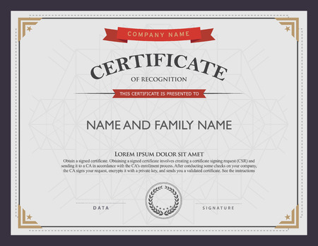 certificate template and element. Vector