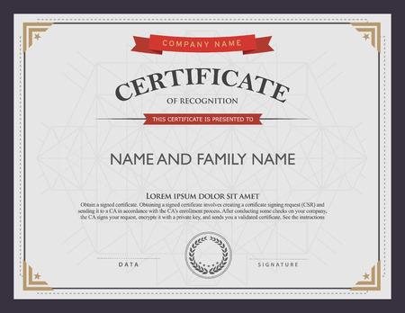 ganador: plantilla de certificado y el elemento. Vectores