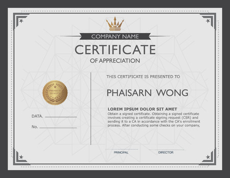 a certificate: certificate template and element.