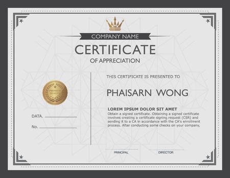 certificado: plantilla de certificado y el elemento. Vectores