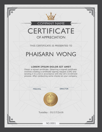 award certificate: certificate template and element.