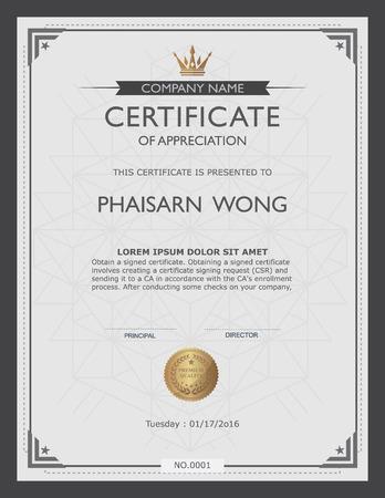 diploma: plantilla de certificado y el elemento. Vectores