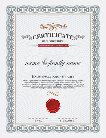 business degree: certificate template and element.