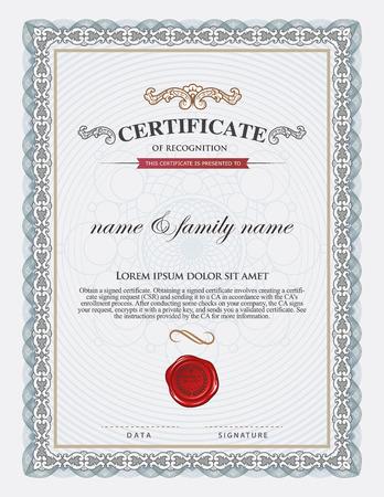 licenciatura: plantilla de certificado y el elemento. Vectores