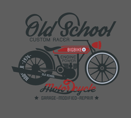 typography design motor cycle classic Illustration