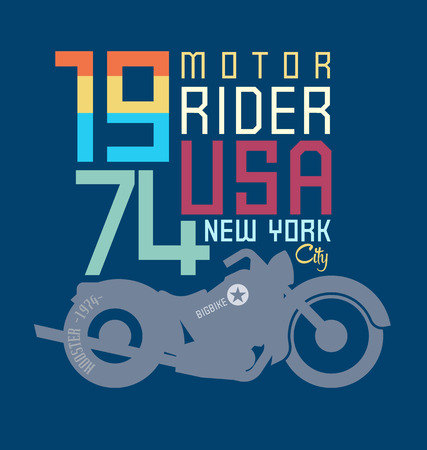 motor cycle: typography design motor cycle classic Illustration