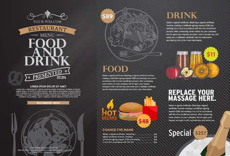 food and beverages: Restaurant menu design.