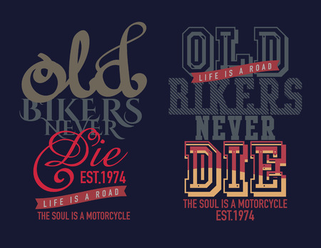 car clothes: typography design motor cycle classic Illustration