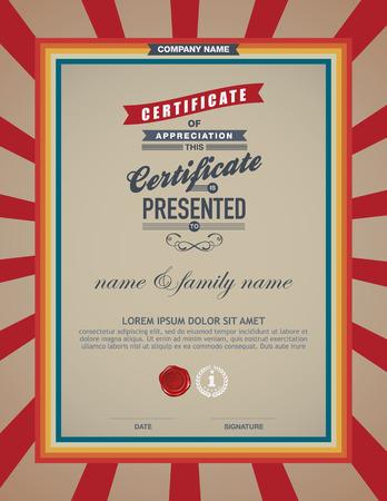 certificate template: certificate retro template.
