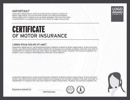 certificate  calligraphy: certificate of motor insurance template. Illustration
