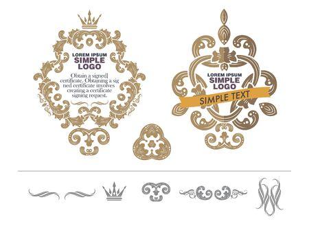 ornamental scroll: vector set: calligraphic design elements and wedding elements. Illustration