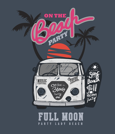 sunset beach: typography design full moon party poster and t-shirt music