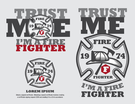 Fire Fighter Design Vector Template And Typographic Design T-shirt. Illustration