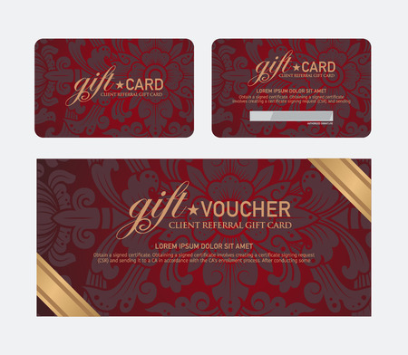 Voucher and gift card template with premium vintage pattern