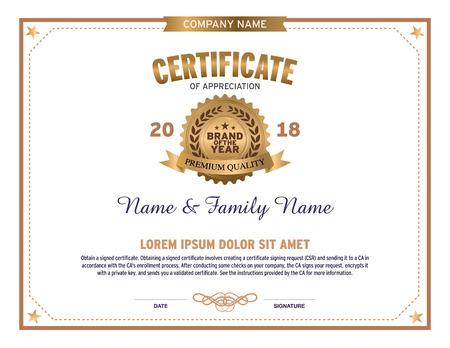 graduate asian: Certificate design template Illustration