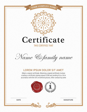 Vector illustration of gold detailed certificate.