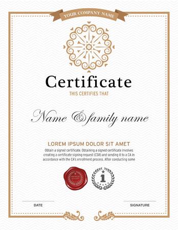 stamp design: Vector illustration of gold detailed certificate.