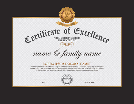 Certificate design template Illustration