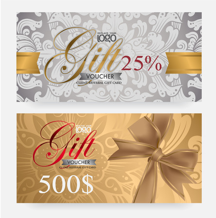 burgundy ribbon: Voucher and gift card template with premium vintage pattern. vector Illustration