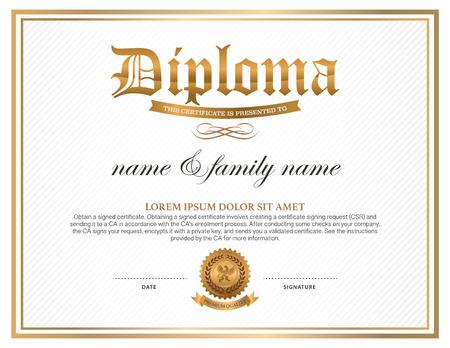 Diploma, certificate design template Vector