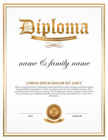 grado: Diploma, diseño de la plantilla de certificado