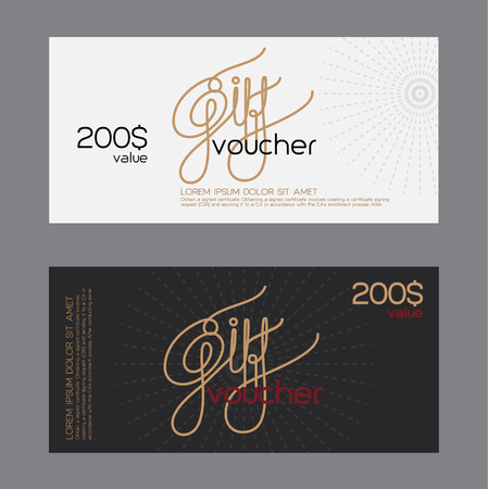 bank note: gift voucher template with  minimal style.