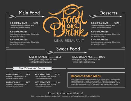 menu restaurant hipster style.