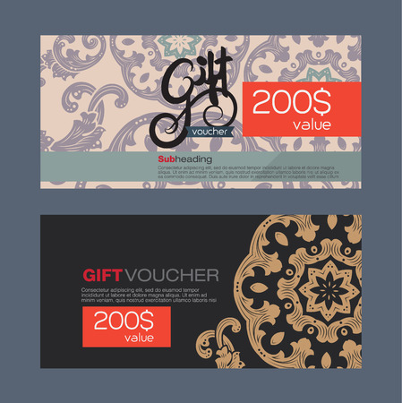 burgundy ribbon: oucher template with premium vintage pattern. vector Illustration