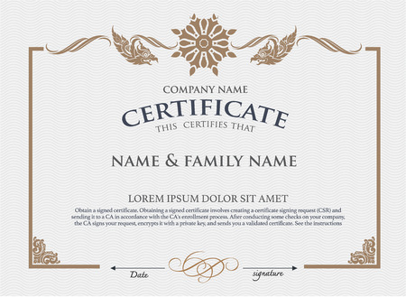 elegant template: Vector certificate template. Illustration