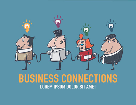 linked together: Businessman standing against each other by a plug linked together. And a lamp on the head. Illustration