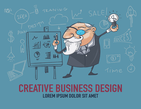 maketing: Businessmen are creative about business.  vector illustration