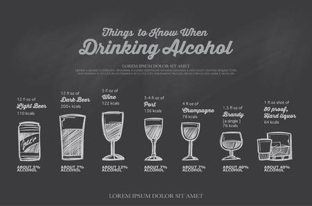 sake: menú de bebidas dibujado a mano en chalkboard.The cantidad de alcohol. Vectores