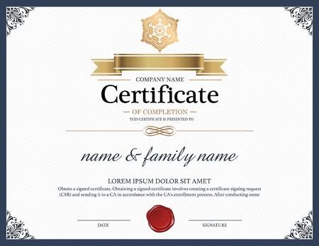 grado: Certificado de plantilla de diseño.