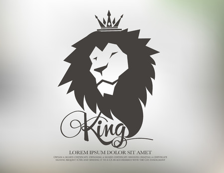 crown logo: lion symbol logo icon design template elements
