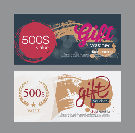 burgundy ribbon: Voucher template with premium vintage pattern. vector