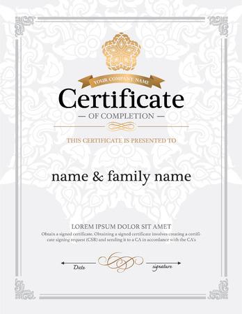 diploma: diseño de la plantilla de certificado. Vectores