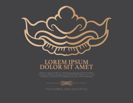 thai decor: Abstract thai art shape Logo design vector template. Illustration